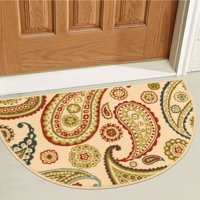 """Well Woven Non-Skid Slip Rubber Back Antibacterial 18"""" x 31"""" Slice Door Mat Hearth Rug Kino Paisley Multi Beige Red Modern Floral Thin Low Pile Machine Washable Indoor Outdoor Kitchen Hallway Entry"""