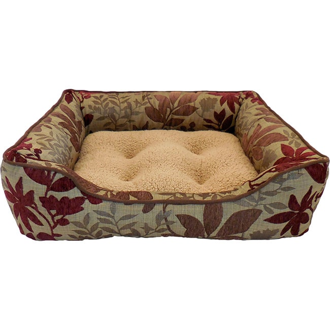 Paws & Claws Bristol Chenille Leaf Jacquard Lounger Pet Bed