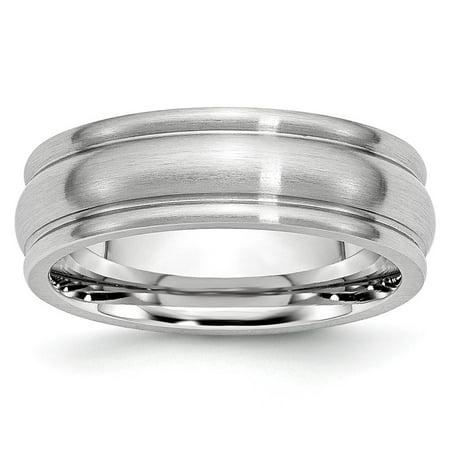 Mia Diamonds Cobalt Satin 7mm Rounded Edge Wedding Engagement Band Ring Size - 10 7mm Diamond Designer Band