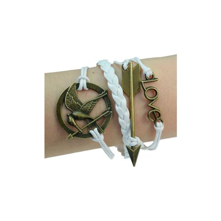 PURPLE WHALE Hunger Game Bracelet-Mockingjay Bird, Arrow, Love, Bronze Bracelet, Braided Rope, Leather, Fashion Wrist Ornament, 7 Inches Long ()