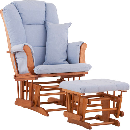 Storkcraft - Custom Tuscany Glider & Ottoman with Bonus Lower Lumbar Pillow - Oak Finish, Choose Your Color