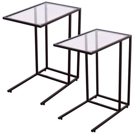 Awesome Costway 2Pcs Coffee Tray Side Sofa End Table Ottoman Couch Stand Tv Lap W Glass Top Gmtry Best Dining Table And Chair Ideas Images Gmtryco