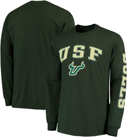 South Florida Bulls Fanatics Branded Distressed Arch Over Logo Long Sleeve Hit T-Shirt - Green