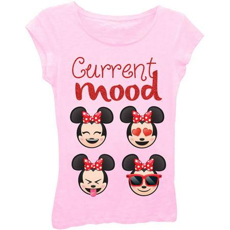 8bda10fd Disney - Emoji Minnie Mouse Girls' 'Current Mood' Short Puff Sleeve Graphic  T-Shirt With Red Glitter - Walmart.com
