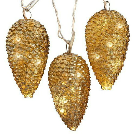 Set of 5 Gold Pine Cone Novelty Christmas Lights 12 Bulb Spacing - Green Wire