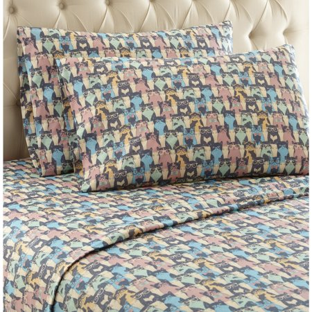 Micro Flannel® Printed Color Sheet Set, Full, Kool Kats