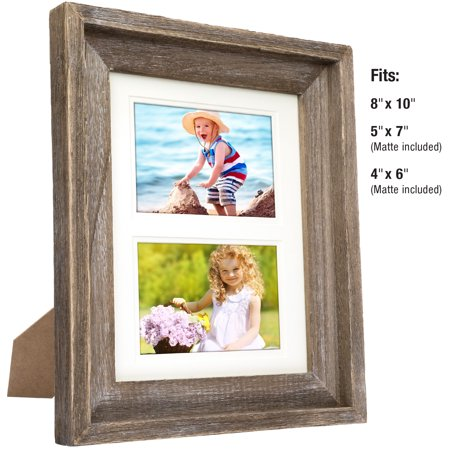 Thick Wood Top (Rustic Barnwood 8x10 Picture Frame Set:  Unique Photo Frame Holder for Wall Desktop or Tabletop Display. Thick Weathered Gray Wood Home Decor. Fits 8x10 or 5x7 or 4x6 with included Matte)