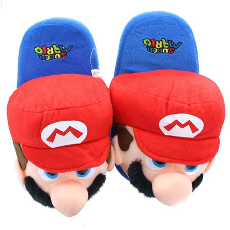 Super Mario Bros. Mario Youth Size Plush Slippers (Mario Plush Slippers)