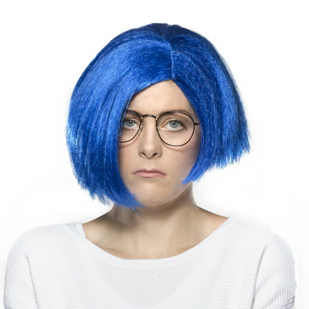 Sad Wig Blue Sadness Inside Out Pixar Movie Hair Cosplay Costume - Movie Cosplay Ideas