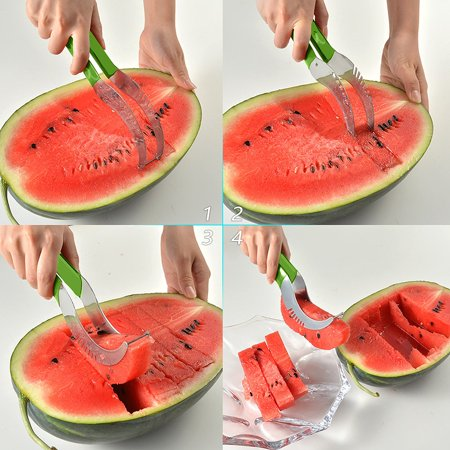 LavoHome Watermelon slicer Large Stainless Steel Blade with Comfortable Silicone Handle and Reinforced Tip - Easy Healthy Eating Done - Pattern Comfortable Healthy