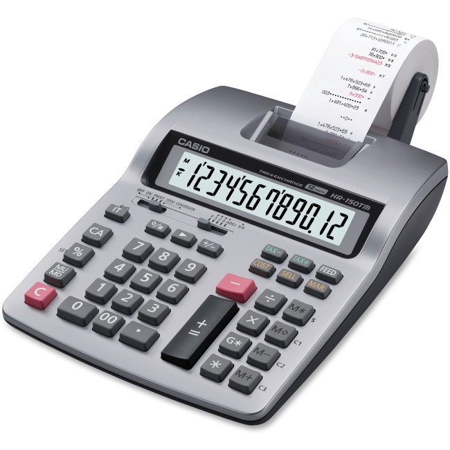 Casio Printing Calculator - Dual Color Print - 2.4 lps - 12 Digits - LCD - Battery Powered - 1 Each