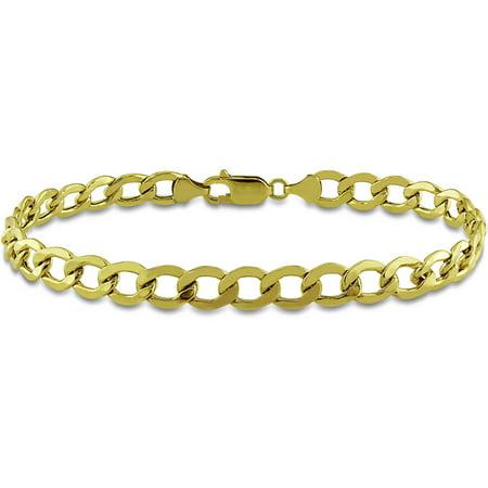 Miabella Men's 10kt Yellow Gold Curb Link Bracelet, (Mans 10kt Yellow Gold Bracelet)