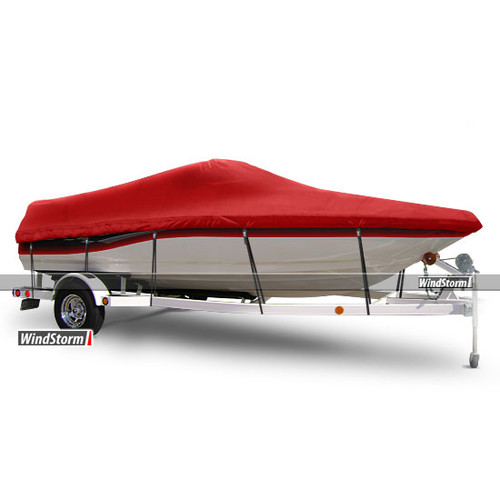 Eevelle WindStorm V-Hull Runabout Boat Cover with Walk-Thru Transom/Windshield and Rails