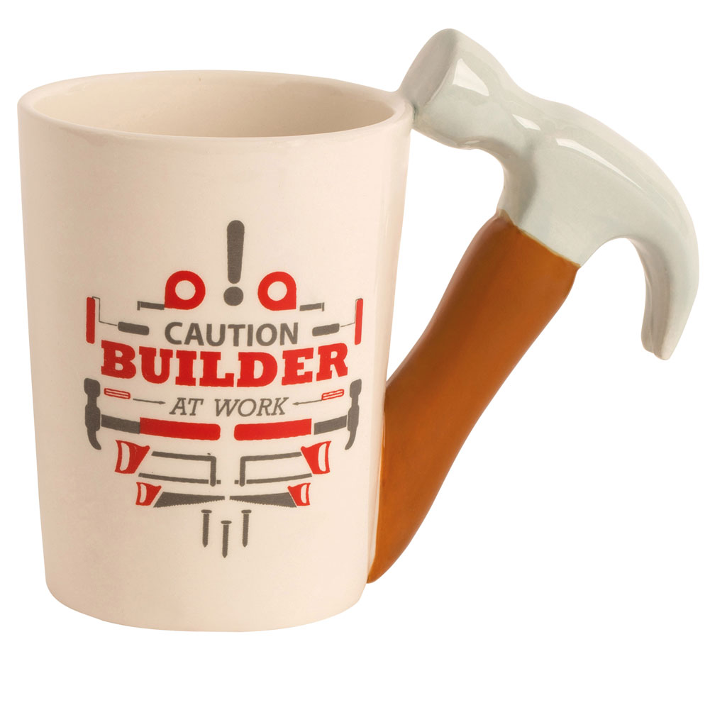"Ceramic Handyman Tool Mug - ""Caution Builder At Work""- Hammer - Great Father's Day Gift"