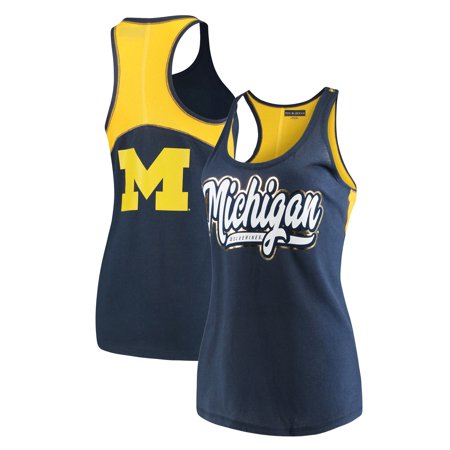 Michigan Wolverines 5th & Ocean by New Era Women's Baby Jersey Racerback 2-Hit Tank Top - -
