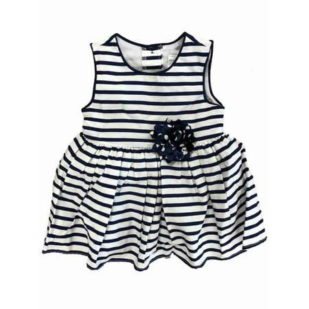 35ddff6b650e4 Infant Girls Navy Blue & White Stripe Cotton Easter & Holiday Baby Dress -  Walmart.com