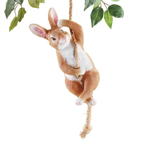 Swinging Bunny Garden Statue Décor - Textured and Hand-Painted Yard Décor