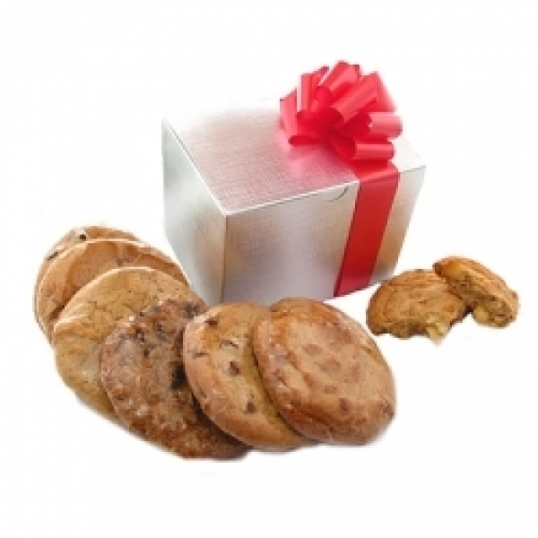 Silver Gift Box Cookie Bouquet 6 Gourmet Cookies by