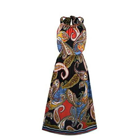 Peach Couture Bohemian Paisley Print Scoop Neckline Summer Halter Maxi dress Wooden Beaded Black Large Beaded Paisley Print Dress