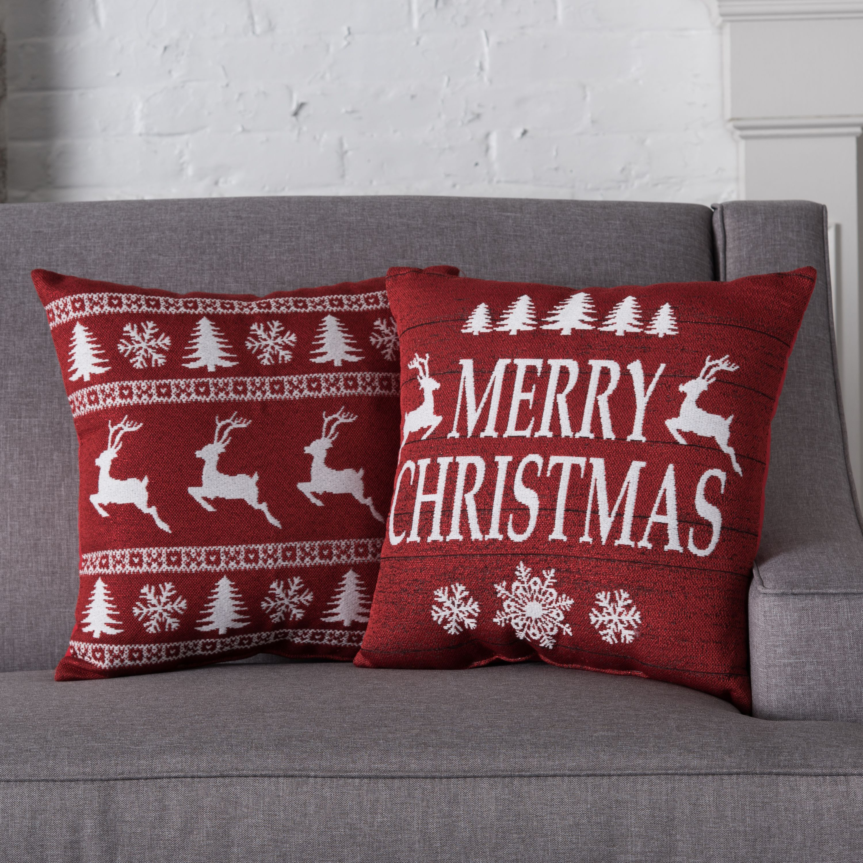 Holiday Time Sweater & Wood Sign Decorative Throw Pillows, 2pk