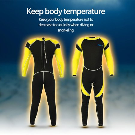 Zerone Kids Neoprene Scuba One-piece Swimsuit Diving Snorkeling Wet Suit Long Sleeve Surfing Swimwear, Children Swimwear, Neoprene Diving Suit ()