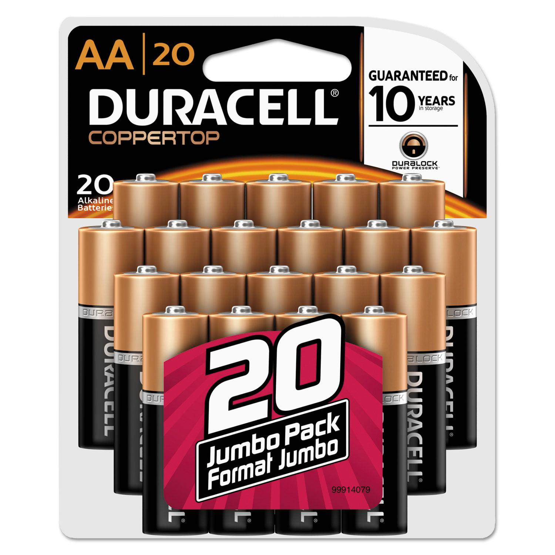 CopperTop Alkaline Batteries with Duralock Power Preserve Technology, AA, 20/Pk