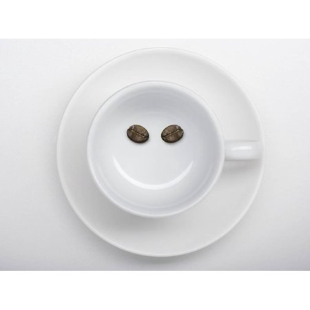 A Coffee Cup with Two Coffee Beans Making a Smiley Face Print Wall Art By Jean Gillis