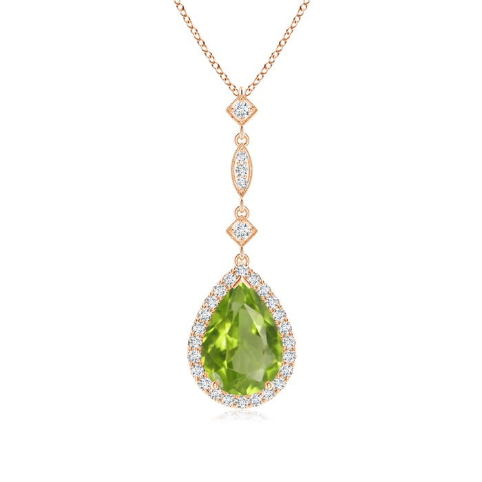 Angara Pear Shaped Peridot Teardrop Necklace in White Gold L2DlR