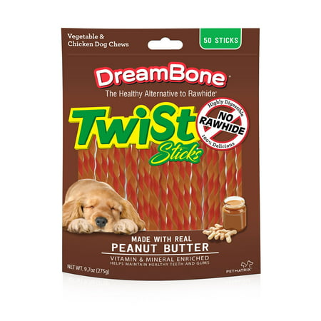 Composure Soft Chews - DreamBone Peanut Butter Twist Sticks Dog Chews, 50-Count
