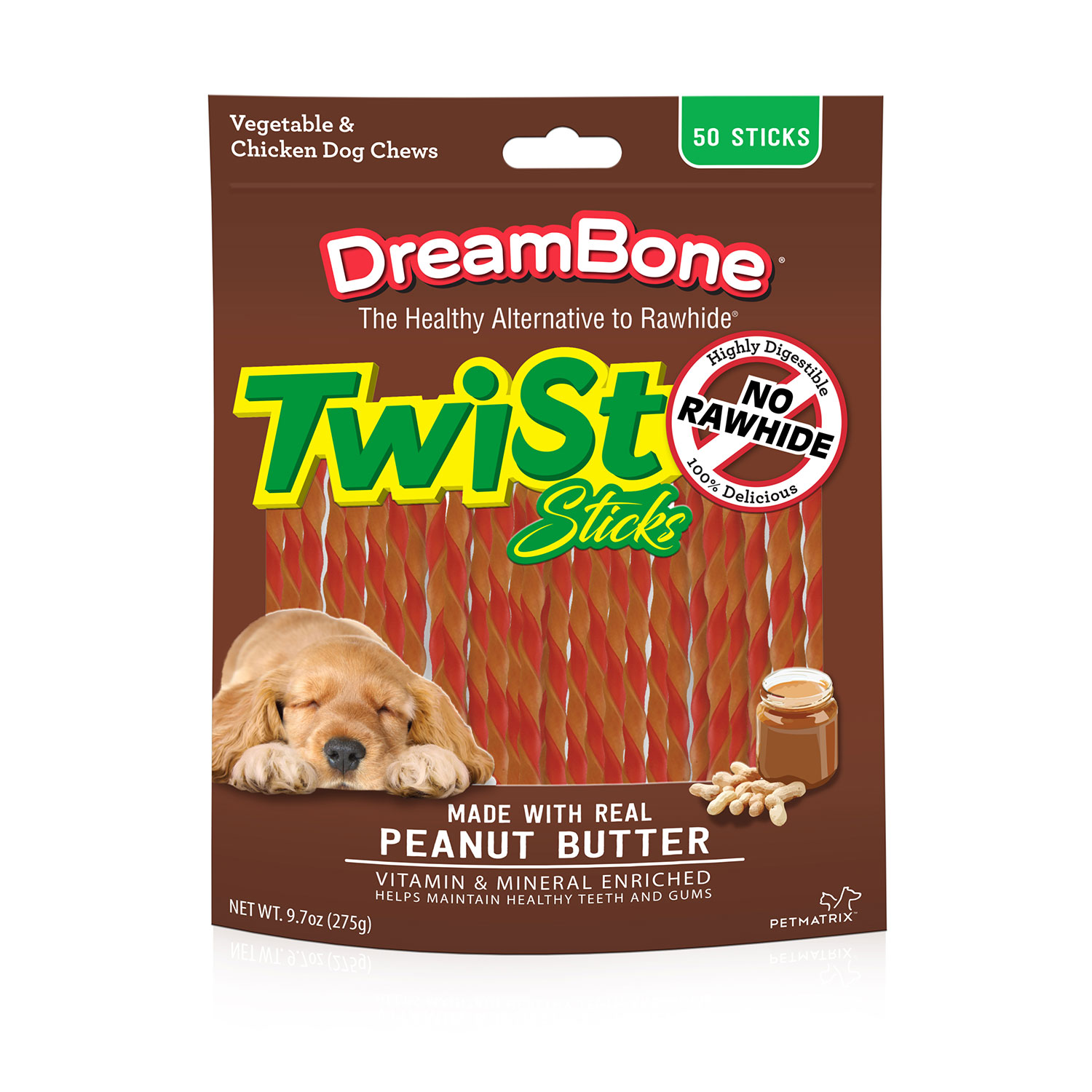 DreamBone Peanut Butter Twist Sticks Dog Chews, 50-Count