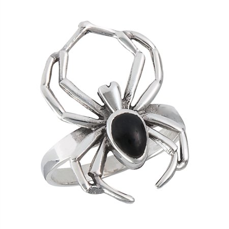 Sterling Silver Simulated Onyx Black Widow Spider Ring](Spider Rings Bulk)