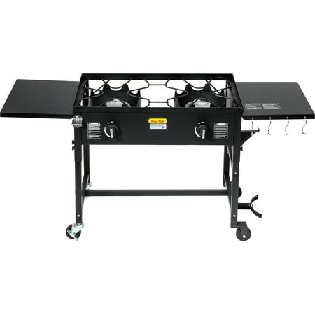 Barton Double Burner Stove Propane Cook Cooking Station Stand BBQ Grill 58,000 BTU Side Folding Table