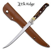Elk Ridge - Outdoors Fixed Blade Fillet Knife - 12.25-in Overall, 440 Stainless Steel Blade, Jig Bone Handle, Leather Sheath - ER-146