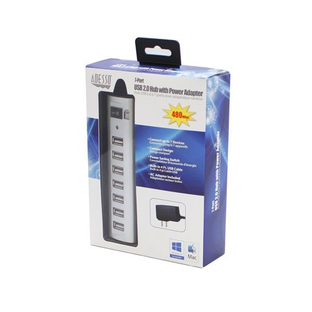 Adesso AUH-2070P - 7 Port USB 2.0 Hub with Power Adapter