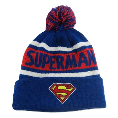 Superman Embroidered Beanie - Concept One Blue Superman Cuffed Pom Beanie
