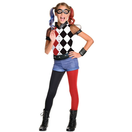 DC Superhero Girls: Harley Quinn Deluxe Child Costume - Harley Davidson Biker Girl Halloween Costume
