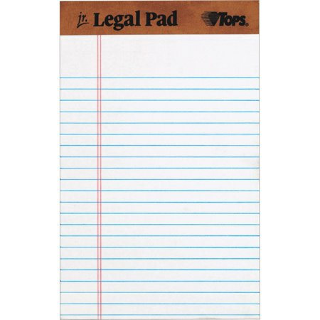TOPS The Legal Pad Writing Pads, Jr. Legal Rule, 50 Sheets, Wht, -