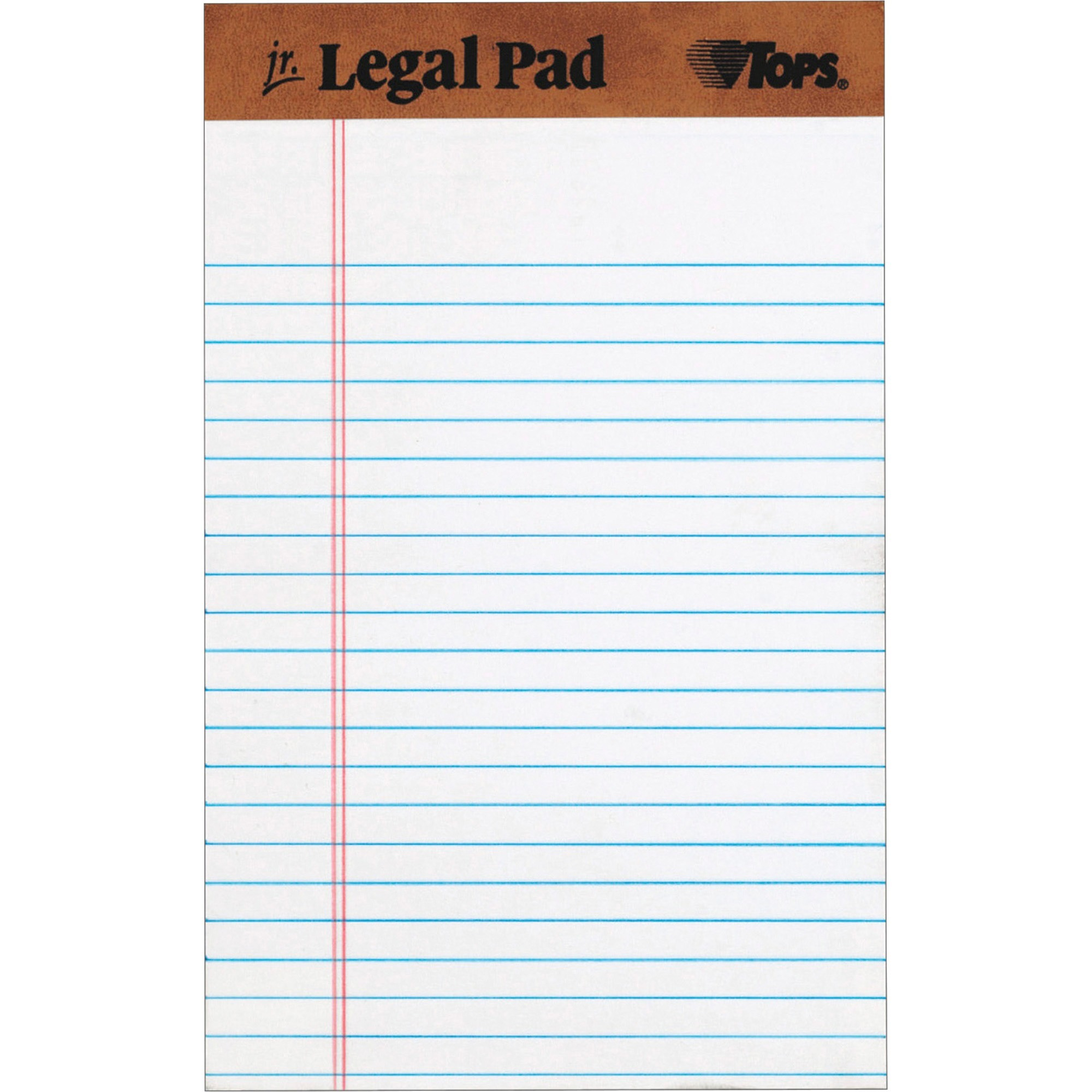 TOPS The Legal Pad Writing Pads, Jr. Legal Rule, 50 Sheets, Wht, (7500)
