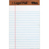 TOPS The Legal Pad Writing Pads (12 Pack), Jr. Legal Rule, 50 Sheets, Wht, (7500)