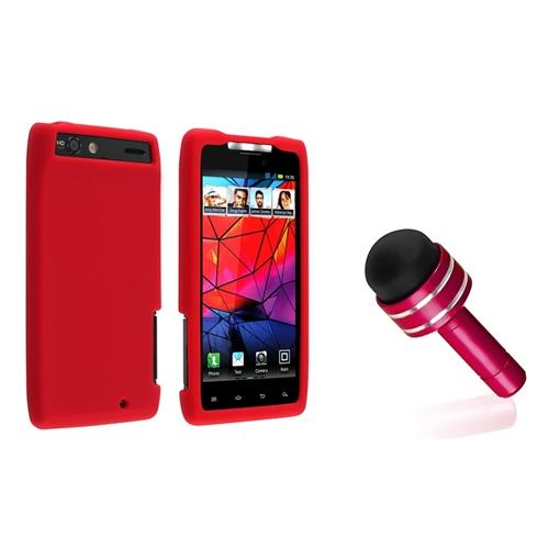 INSTEN Red Color Silicone Rubber Gel Skin Case Cover for Motorola Droid Razr XT912 Phone