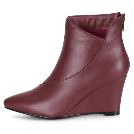 Women's Pointed Toe Zipper Wedge Boots Burgundy US 6 - image 1 of 7