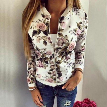 Xmas Womens Fashion Vintage Floral Sports Casual Short Baseball Jacket Coat Outwear
