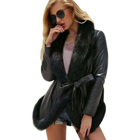 Asian size Autumn Winter Fashion Women Faux Fur Collar Coat Parka Overcoat Warm Leather Thick Jacket