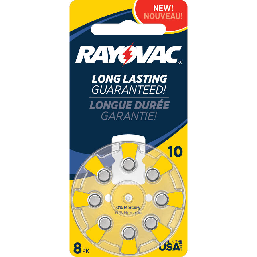 Rayovac Type 10 Hearing Aid Batteries, 8-Pack