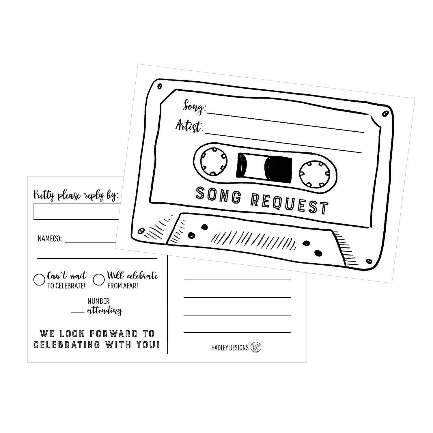 50 Song Request Cassette Tape Generic RSVP Cards, RSVP Postcards No Envelopes Needed, Response Card, RSVP Reply, Plain RSVP kit for Wedding, Baby Bridal Shower, Birthday, Invitations