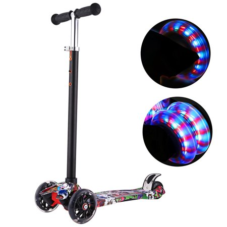 Kick Scooter for Kids 3 Wheel Scooter, 4 Adjustable Height, Lean to Steer with PU LED Light Up Wheels for Children from 3 to 17 Years (3 Wheel Scooter For Sale In The Philippines)