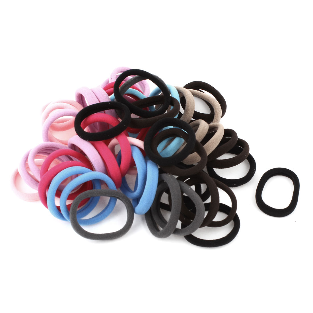 Women Elastic Hair Tie Band Rope Ponytail Scrunchie Holder Colorful 56Pcs
