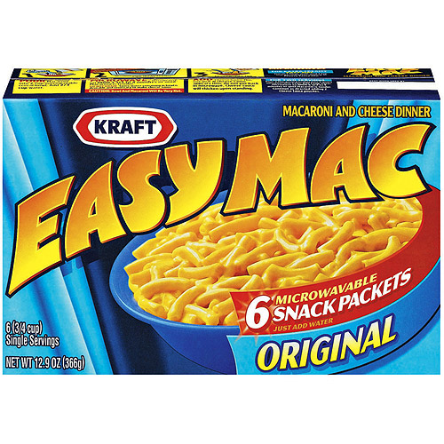 Kraft Original Microwavable Snack Packets Easy Mac Macaroni & Cheese, 6ct