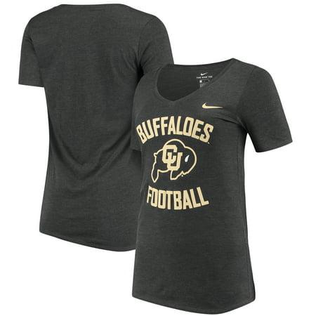 Colorado Buffaloes Nike Women's Football Tri-Blend Mid V-Neck T-Shirt - Heathered Black
