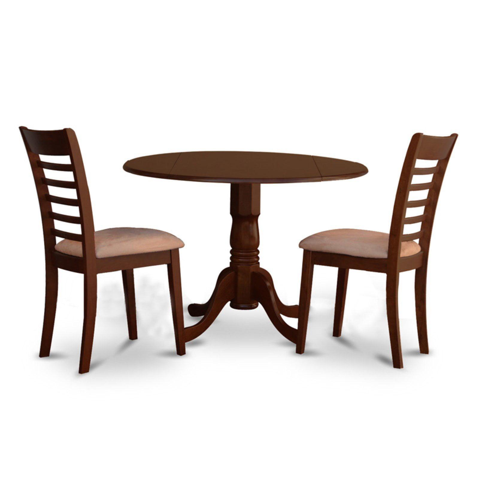 East West Furniture 3 Piece Straight Ladderback Drop Leaf Dinette Dining Table Set